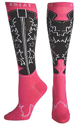 Ariat Women's Pink and Black Western Boot Knee High Socks