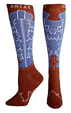 Ariat Women's Baby Blue and Brown Western Boot Knee High Socks