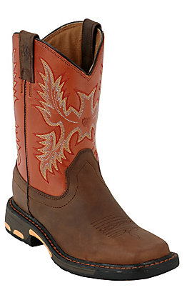 Ariat Kids WorkHog Dark Brown and Brick Red Wide Square Toe Work Boots