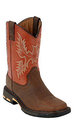 Ariat Youth WorkHog Dark Brown and Brick Red Wide Square Toe Work Boots