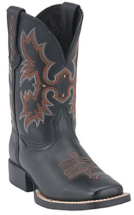 Ariat Youth Tombstone Black Wide Square Toe Western Boots