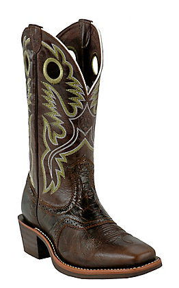 Ariat Men's Heritage Roughstock Thunder Brown Square Toe Western Boots