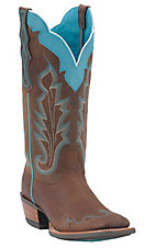Ariat Ladies Withered Brown w/ Turquoise Caballera Wide Square Toe Wingtip Western Boots
