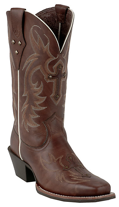 54fa71d382a Ariat Legend Spirit Women's Yukon Brown Cross and Studs Punchy Square Toe  Boots