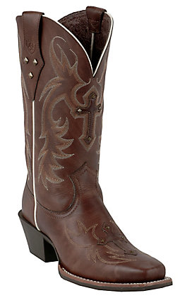 Ariat Legend Spirit Women's Yukon Brown Cross and Studs Punchy Square Toe Boots