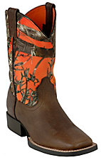 XEMAriat Quickdraw Youth Earth Brown w/ Orange Timber Camo Top Square Toe Boot