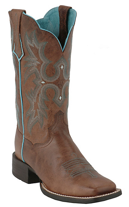 8e86e077952 Ariat Tombstone Women's Sassy Brown with Turquoise Stitch Double Welt Wide  Square Toe Boot