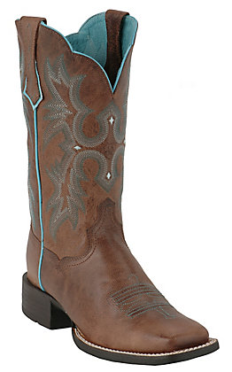 Ariat Tombstone Ladies Sassy Brown with Turquoise Stitch Double Welt Wide Square Toe Boot