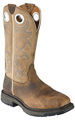 Ariat Men's WorkHog Earth Brown and Tall Beige Square Steel Toe Work Boot