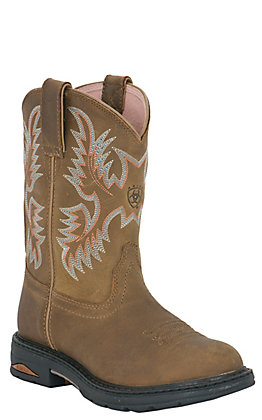 Ariat Ladies Tracey Brown Pull On with Composite Steel Toe Western Work Boot