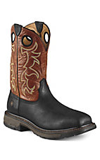 Ariat Men's Black w/ Adobe Top Workhog Square Steel Toe Work Boot