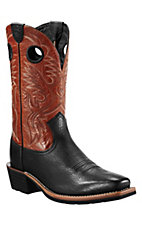 Ariat Heritage Roughstock Men's Black Bull w/Orange Top Square Toe Western Boots