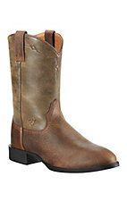 XEMAriat Heritage Men's Distressed Earth Brown Bomber Roper Boots