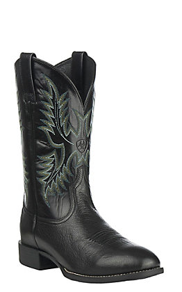 Ariat Men's Heritage Stockman Black Deertan Round Toe Western Boots