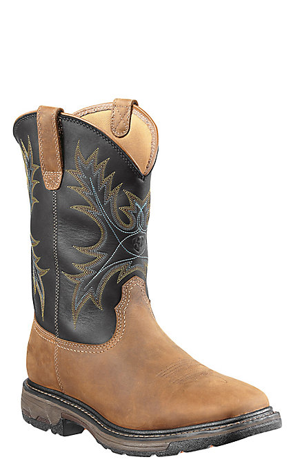 21366f8db61 Ariat Workhog H2O Men's Brown and Black Waterproof Wide Square Soft Toe  Work Boots