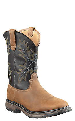 Ariat Workhog Men's Aged Bark Brown with Black Top Square Steel Toe Work Boot