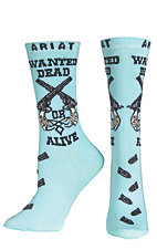 Ariat Women's Aqua Wanted Dead or Alive Pistols Ankle Socks