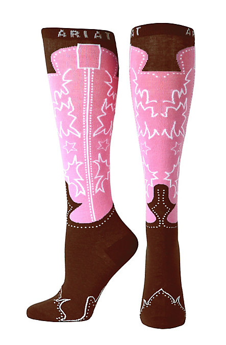 6af25f1b820 Ariat Women's Pink and Brown Western Boot Knee High Socks
