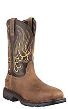 Ariat Workhog Mesteno Men's Earth Brown Composite Square Toe Western Work Boots