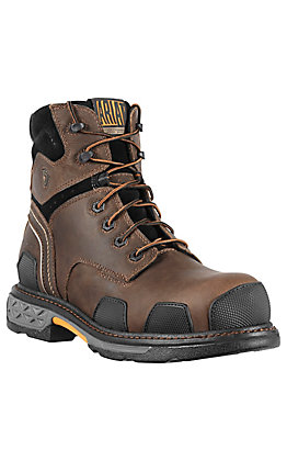 "Ariat OverDrive Men's Dark Brown Round Composite Toe 6"" Lace Up Work Boots"