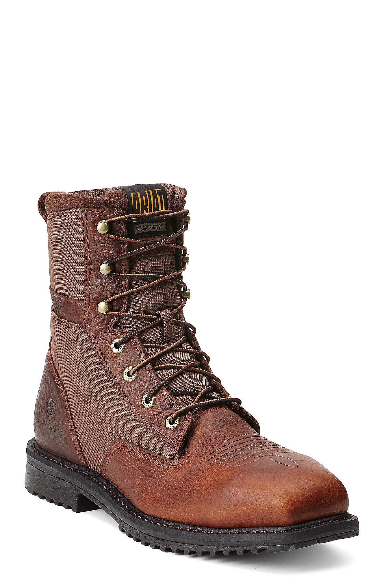 Ariat Rigtek Men's Oiled Brown Square Composite Toe 8in Lace-Up ...