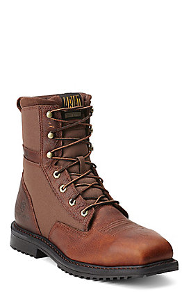 "Ariat RigTek Men's Oiled Brown Wide Square Composite Toe 8"" Lace Up Work Boots"