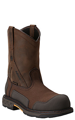 Ariat Overdrive XTR Men's Brown Cordra Waterproof Composite Toe Slip-On Workboot