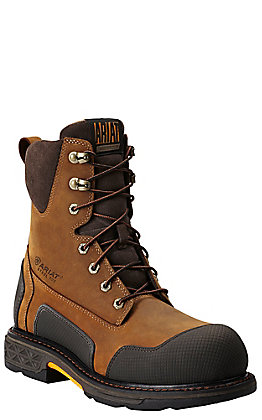 Ariat Men's OverDrive XTR Aged Bark Round Steel Toe Side Zip Lace Up Work Boot