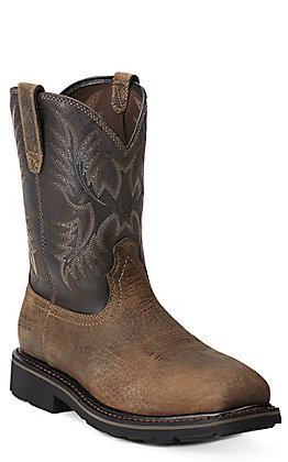 Ariat Sierra Men's Earth Brown Steel Square Toe Western Work Boots
