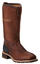 Ariat Men's Hybrid All Weather Oiledy Brown with Neoprene Top Square Steel Toe Workboots