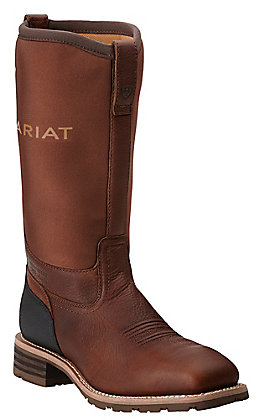 Ariat Men's Hybrid All Weather Oiled Brown with Neoprene Top Square Steel Toe Workboots