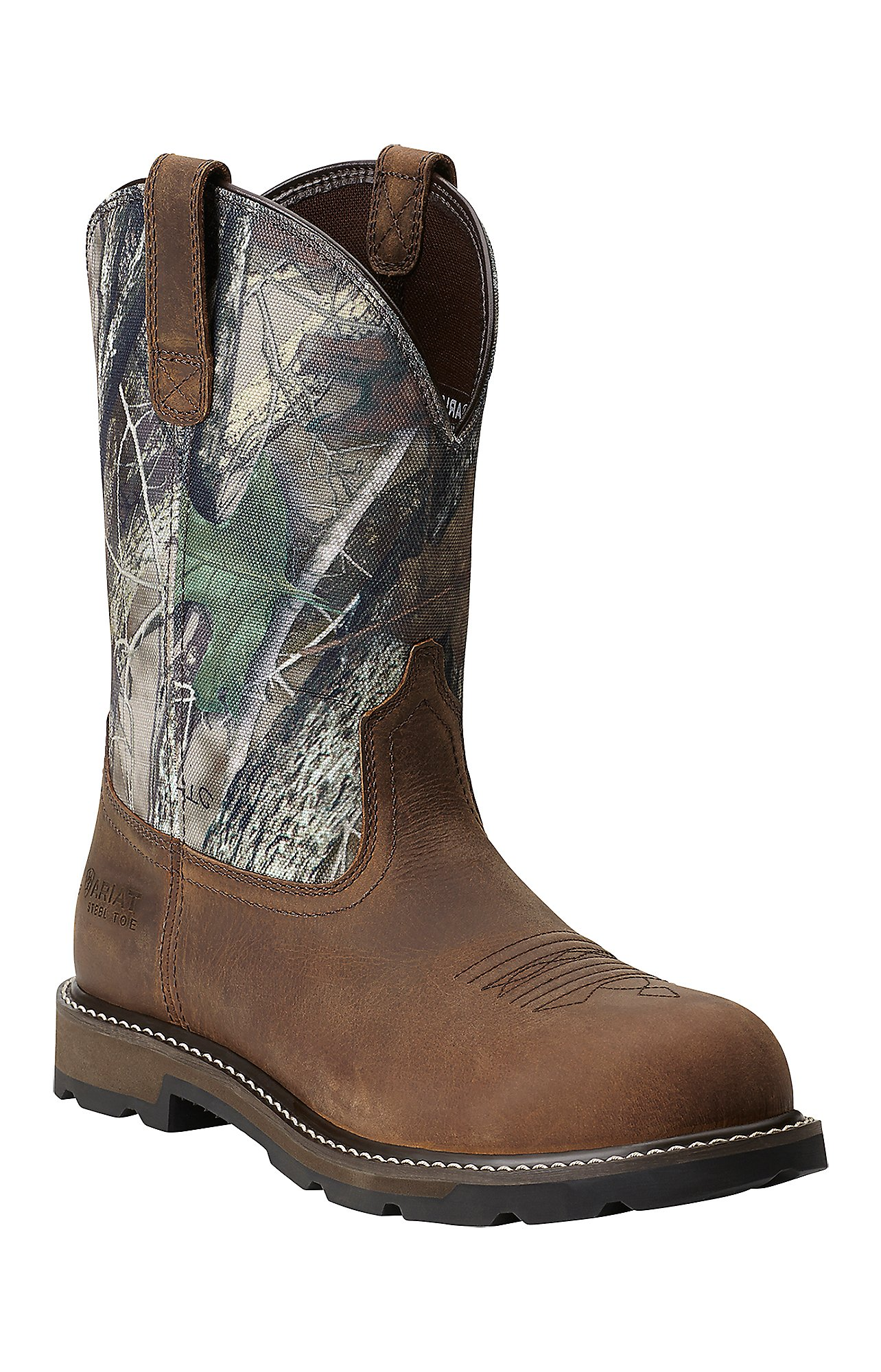 Ariat Groundbreaker Men's Distressed Brown with Camo Top Steel Toe ...