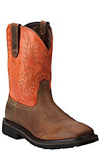 Ariat Sierra Men's Earth Brown with Orange Top Square Toe Slip-On Western Workboots