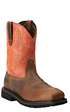 Ariat Sierra Men's Earth Brown with Orange Top Square Steel Toe Slip-On Western Workboots