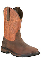 Ariat Groundbreaker Men's Brown with Rust Orange Top Slip-On Square Toe Workboots