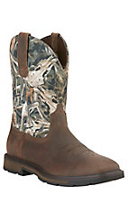Ariat Groundbreaker Men's Distressed Brown with Camo Top Slip-On Square Toe Workboots