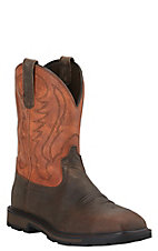 Ariat Groundbreaker Men's Brown with Rust Orange Top Slip-On Square Steel Toe Workboots