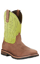 Ariat Groundbreaker Men's Palm Brown with Lime Top Slip-On Square Steel Toe Waterproof Workboots