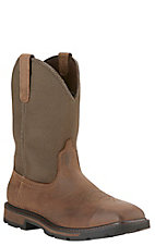 Ariat Groundbreaker Men's Palm Brown with Ballistic Brown Top Waterproof Square Steel Toe Slip-On Workboots