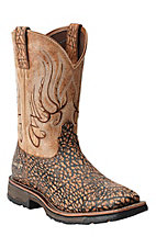Ariat Workhog Mesteno Men's Savannah Elephant Print Composite Square Toe Western Work Boots