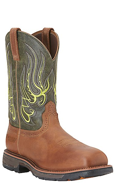 Ariat Men's Workhog Mesteno Green and Rust H2O Composite Wide ...