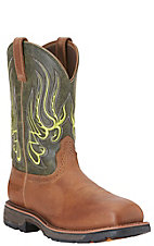 Ariat Men's Workhog Mesteno Green and Rust H2O Composite Wide Square Toe Western Work Boot