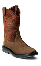 Ariat Maverick Men's Earth Brown with Brick Upper Square Toe Slip-On Workboots