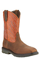 Ariat Maverick Men's Earth Brown with Orange Top Square Composite Toe Slip-On Workboots