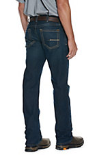 Ariat Rebar Men's Dark Wash Open Pocket Low Rise Boot Cut Stretch Work Jeans