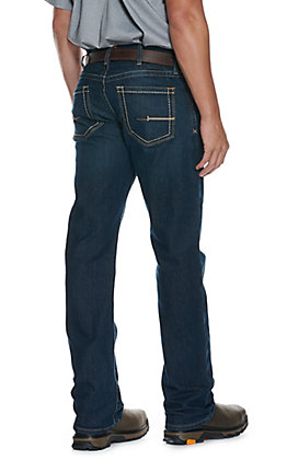 Ariat Rebar M4 Men's Dark Wash Open Pocket Low Rise Boot Cut Stretch Work Jeans