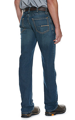Ariat Rebar Men's Stone Wash Open Pocket Low Rise Straight Leg Stretch Work Jeans