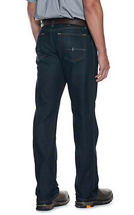 Ariat Rebar M5 Men's Dark Wash Open Pocket Low Rise Straight Leg Stretch Work Jeans