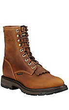 XSM Ariat Men's Aged Bark Brown WorkHog Lace Up Roper Composite Toe Work Boot