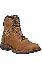 Ariat Conquest Men's Brush Brown with Camo Square Toe Waterproof Lace Up Boots